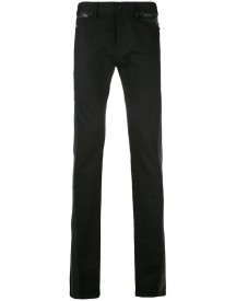 Diesel Black Gold - Elongated Leather Trim Jeans - Men - Cotton/leather/spandex/elastane - 34 afbeelding