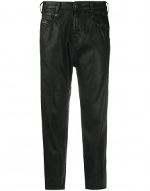 Diesel High-rise Cropped Coated Jeans - Zwart afbeelding
