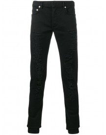 Dior Homme - Slim Fit Ripped Jeans - Men - Cotton/calf Leather/spandex/elastane - 33 afbeelding