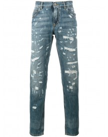 Dolce & Gabbana - Distressed Denim Straight-leg Jeans - Men - Cotton - 50 afbeelding