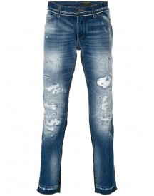 Dolce & Gabbana - Distressed Jeans - Men - Cotton/calf Leather - 52 afbeelding