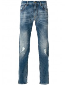 Dolce & Gabbana - Distressed Jeans - Men - Cotton/calf Leather/spandex/elastane/zamak - 44 afbeelding