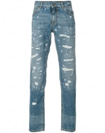 Dolce & Gabbana - Distressed Jeans - Men - Cotton/calf Leather/zamac - 46 afbeelding
