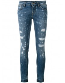 Dolce & Gabbana - Distressed Skinny Jeans - Women - Cotton/spandex/elastane/calf Leather/zamac - 36 afbeelding