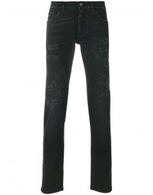 Dolce & Gabbana - Distressed Slim-fit Jeans - Men - Cotton/calf Leather/polyurethane/zamak - 52 afbeelding