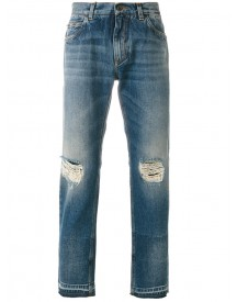 Dolce & Gabbana - Distressed Straight-leg Jeans - Men - Cotton - 50 afbeelding
