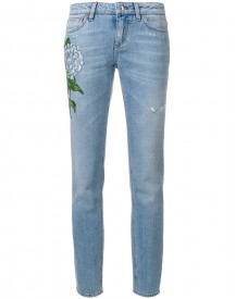 Dolce & Gabbana - Floral Patch Straight-leg Jeans - Women - Cotton - 40 afbeelding