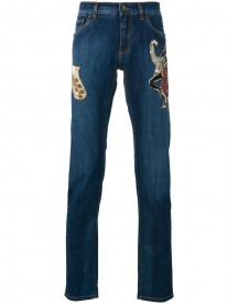 Dolce & Gabbana - Jazz Patch Jeans - Men - Silk/cotton/calf Leather/glass - 48 afbeelding
