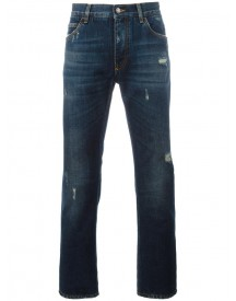 Dolce & Gabbana - Ripped Detail Jeans - Men - Cotton/calf Leather/zamac - 56 afbeelding