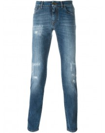 Dolce & Gabbana - Ripped Detail Tapered Jeans - Men - Cotton/calf Leather/spandex/elastane - 52 afbeelding
