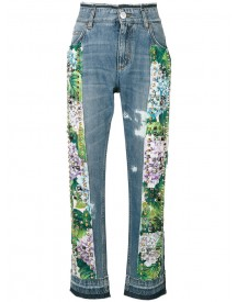 Dolce & Gabbana - Studded Hydrangea Jeans - Women - Cotton/calf Leather - 40 afbeelding