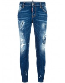 Dsquared2 - Cool Girl Cropped Distressed Jeans - Women - Cotton/spandex/elastane - 40 afbeelding