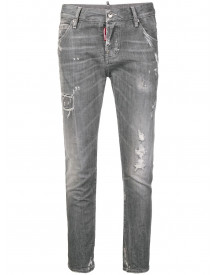 Dsquared2 Distressed Cropped Jeans - Grijs afbeelding