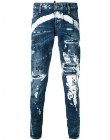 Dsquared2 - Distressed Graffiti Jeans - Men - Cotton - 46 afbeelding