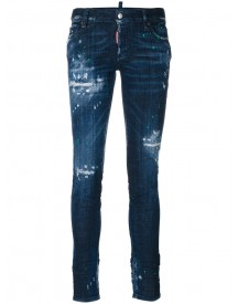 Dsquared2 - Distressed Jennifer Jeans - Women - Cotton/leather/polyester/wool - 44 afbeelding