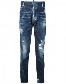 Dsquared2 - Distressed Overdyed Jeans - Men - Cotton/calf Leather/polyester/spandex/elastane - 46 afbeelding