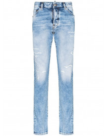 Dsquared2 Distressed Straight Leg Jeans - Blauw afbeelding