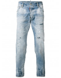Dsquared2 Gerafelde Cropped Jeans - Blauw afbeelding