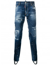 Dsquared2 Geripte Skinny Jeans - Blauw afbeelding