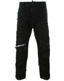 Dsquared2 - Glam Head Distressed Patchwork Jeans - Men - Cotton/calf Leather/polyester/spandex/elastane - 52 afbeelding