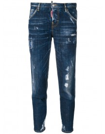 Dsquared2 - Hockney Jeans - Women - Cotton/calf Leather/polyester/spandex/elastane - 44 afbeelding