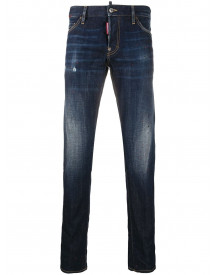 Dsquared2 Logo Patch Slim-fit Jeans - Blauw afbeelding