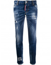 Dsquared2 Logo Print Slim-fit Jeans - Blauw afbeelding