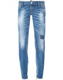 Dsquared2 - Medium-waisted Cropped Jeans - Women - Cotton/leather/polyester/spandex/elastane - 42 afbeelding