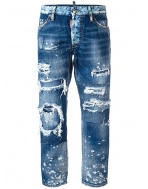 Dsquared2 - Ripped Boyfriend Jeans - Women - Cotton - 42 afbeelding