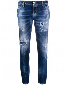 Dsquared2 Ripped Detailing Cropped Jeans - Blauw afbeelding