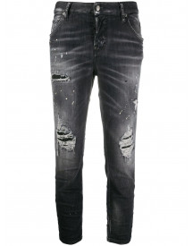 Dsquared2 Ripped Detailing Cropped Jeans - Zwart afbeelding