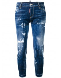 Dsquared2 - Skinny Cropped Distressed Jeans - Women - Cotton/polyester/spandex/elastane - 46 afbeelding