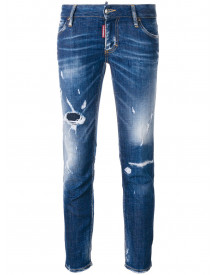 Dsquared2 Super Skinny Cropped Jeans - Blauw afbeelding