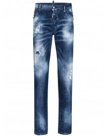 Dsquared2 Whiskered Distressed Jeans - Blauw afbeelding