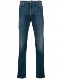 Emporio Armani Slim-fit Stonewashed Jeans - Blauw afbeelding