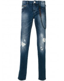 Emporio Armani - Worn Effect Jeans With Chain - Men - Cotton/spandex/elastane - 29 afbeelding