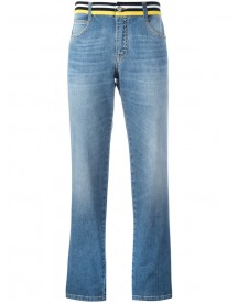 Ermanno Scervino - Striped Waistband Straight Jeans - Women - Cotton/spandex/elastane - 42 afbeelding