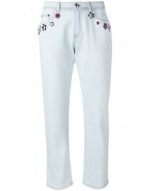 Fendi - Floral Detail Stretch Denim Jeans - Women - Cotton/spandex/elastane - 44 afbeelding