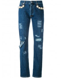 Forte Couture - Embellished Distressed Jeans - Women - Cotton/acrylic/metal - 24 afbeelding