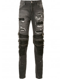 God's Masterful Children Zipped Ripped Skinny Jeans - Zwart afbeelding