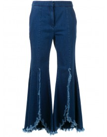 Goen.j - Ruffled Cropped Jeans - Women - Cotton - S afbeelding