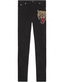 Gucci - Angry Cat Embroidered Denim Pant - Women - Cotton/spandex/elastane - 32 afbeelding