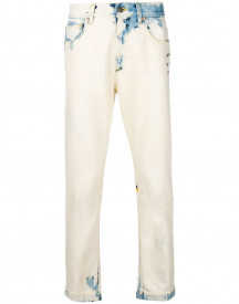Gucci Bleached Biker Jeans - Wit afbeelding