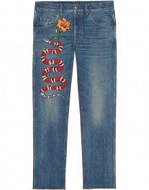 Gucci - Embroidered Denim Pants - Men - Cotton/leather - 35 afbeelding