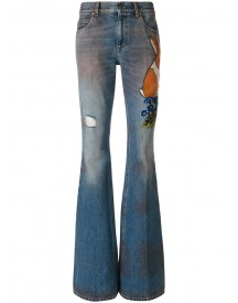 Gucci - Embroidered Denim Pants - Women - Cotton/leather - 26 afbeelding