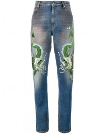 Gucci - Embroidered Dragon Jeans - Women - Silk/cotton/calf Leather/viscose - 31 afbeelding