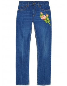 Gucci - Embroidered Jeans - Women - Cotton - 27 afbeelding