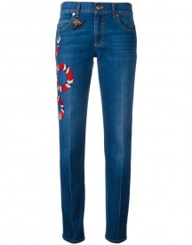 Gucci - Embroidered Kingsnake Jeans - Women - Cotton/calf Leather - 26 afbeelding