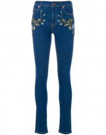 Gucci - Floral Embroidered Skinny Jeans - Women - Cotton/polyester/spandex/elastane - 27 afbeelding