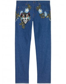 Gucci - Tapered Denim Pant With Embroidery - Men - Cotton/spandex/elastane - 32 afbeelding